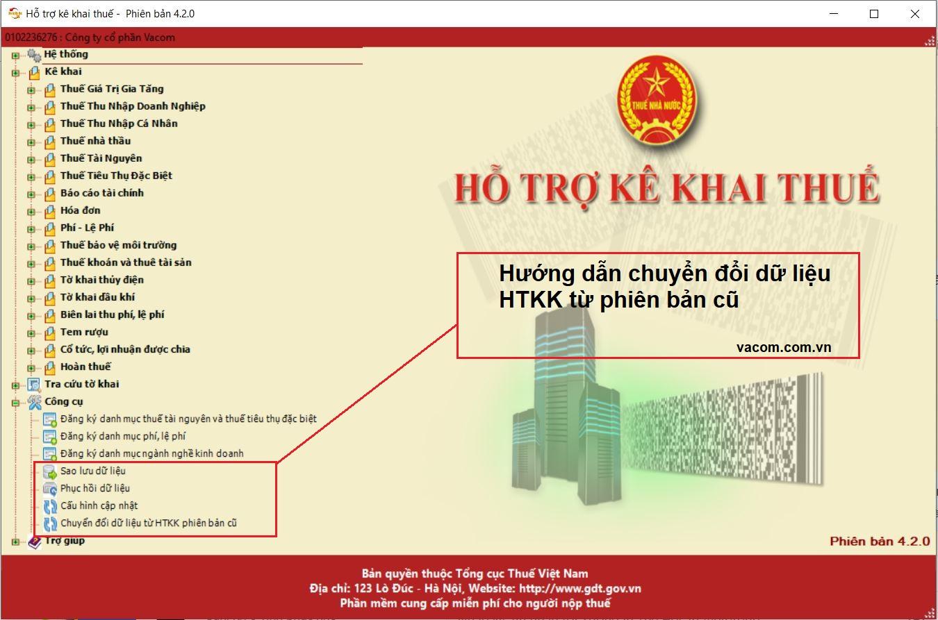 Hướng dẫn chuyển đổi dữ liệu HTKK cũ sang phiên bản HTKK mới